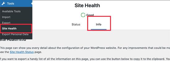 Site Health in WordPress